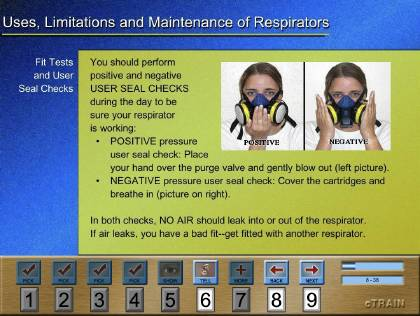 Original screen format of a Respiratory Protection training title screen.