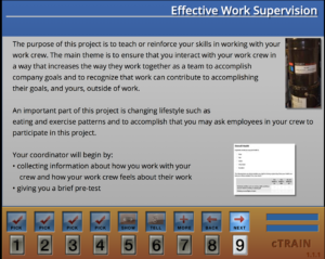 Simple screen format from Effective Work Supervision title